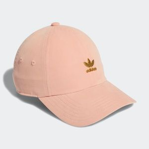 Adidas Relaxed Gold Logo Baseball Hat in Pink